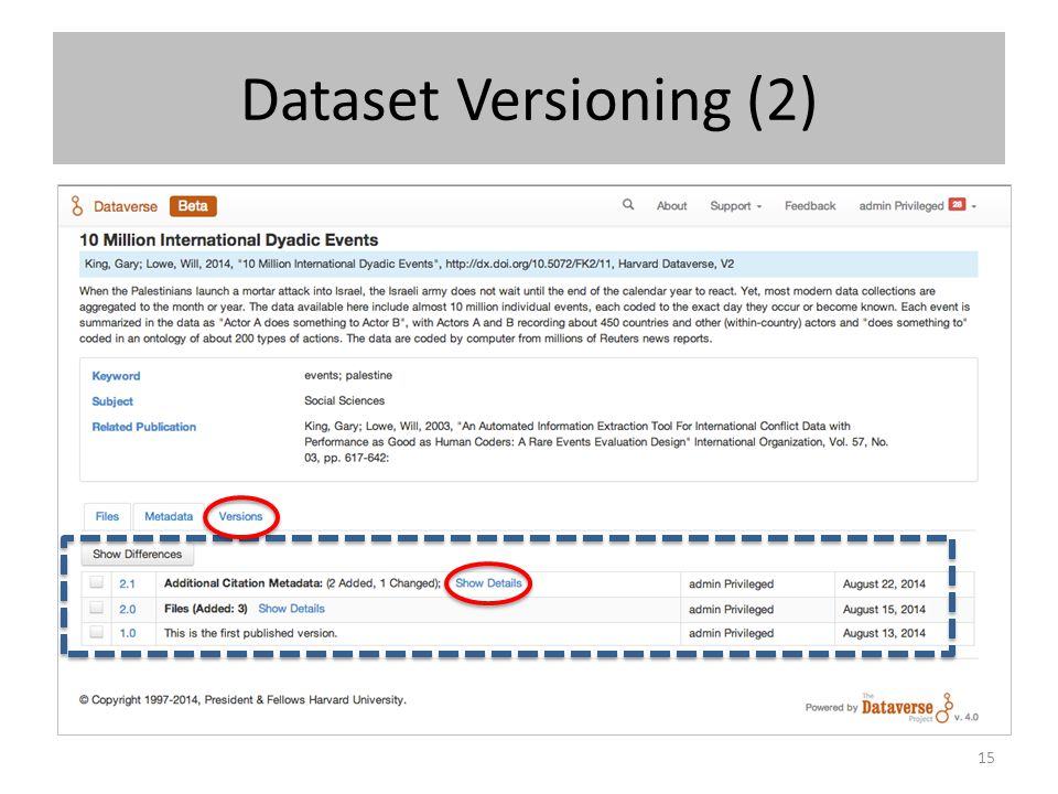 Dataset Versioning (2) If you add or change files the version will go up a major version (ex.
