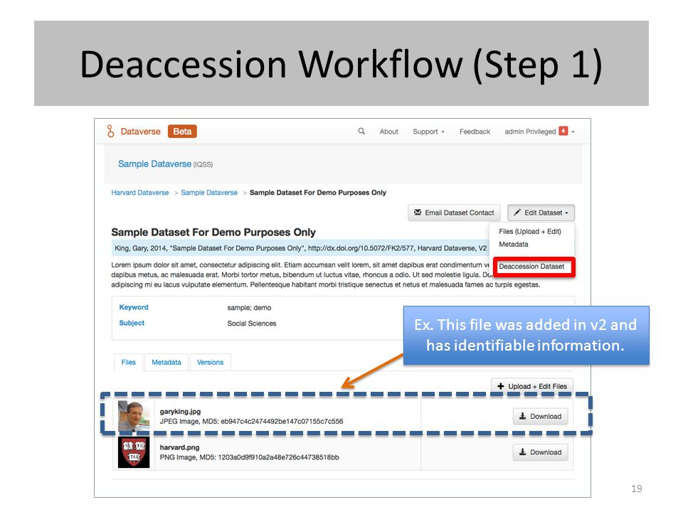 Deaccession Workflow (Step 1)