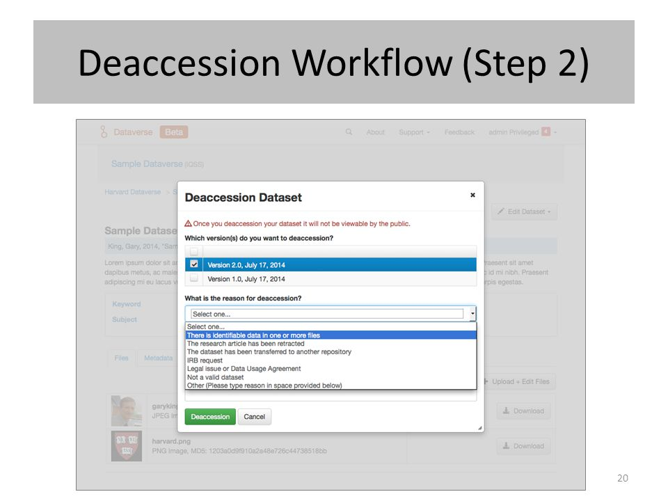 Deaccession Workflow (Step 2)