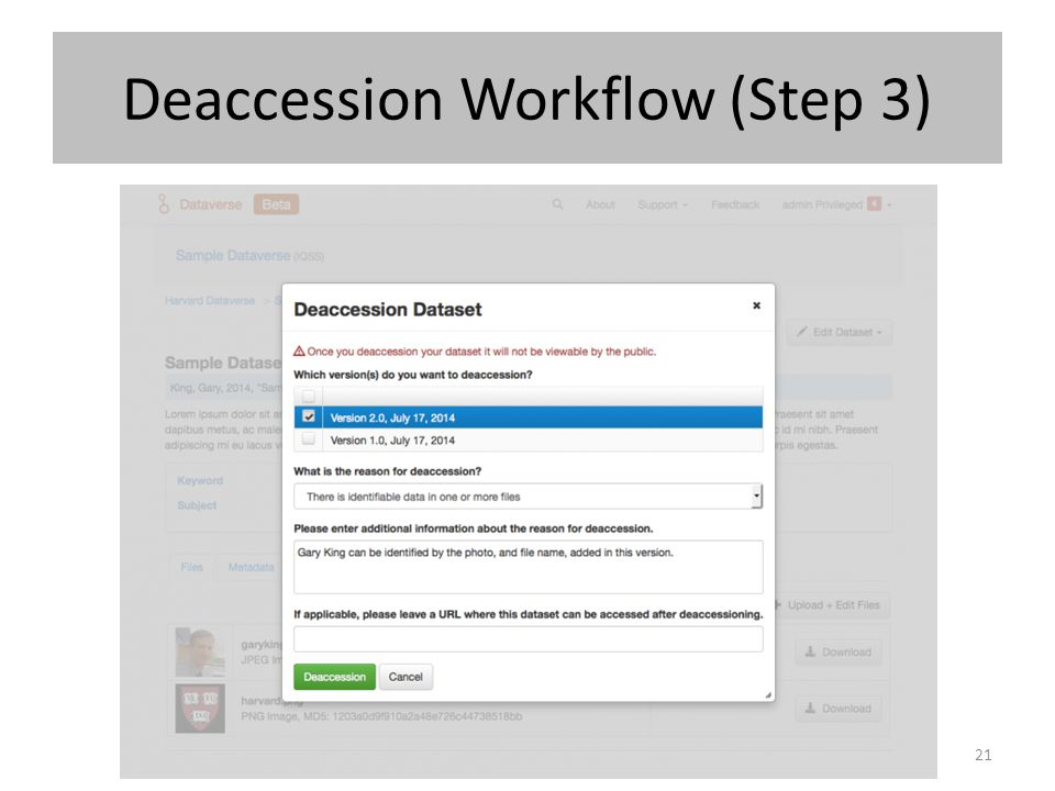 Deaccession Workflow (Step 3)