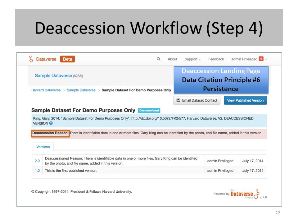 Deaccession Workflow (Step 4)