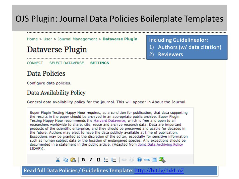 OJS Plugin: Journal Data Policies Boilerplate Templates