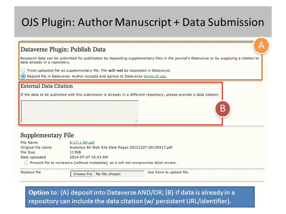 OJS Plugin: Author Manuscript + Data Submission