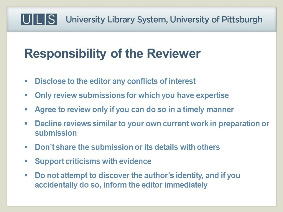 Responsibility of the Reviewer