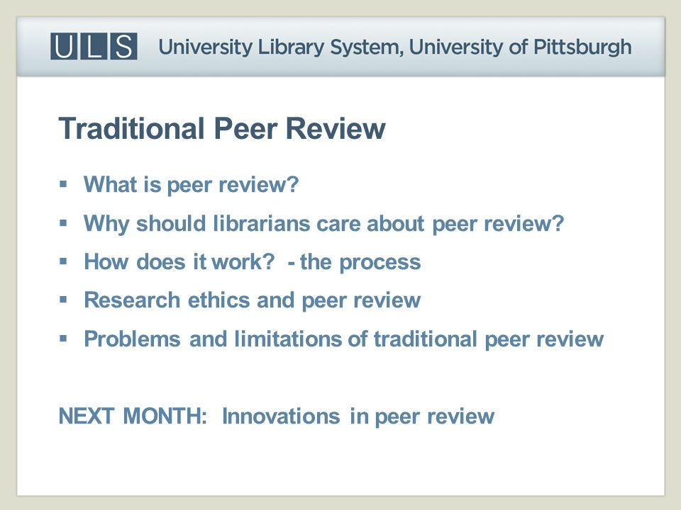 Traditional Peer Review
