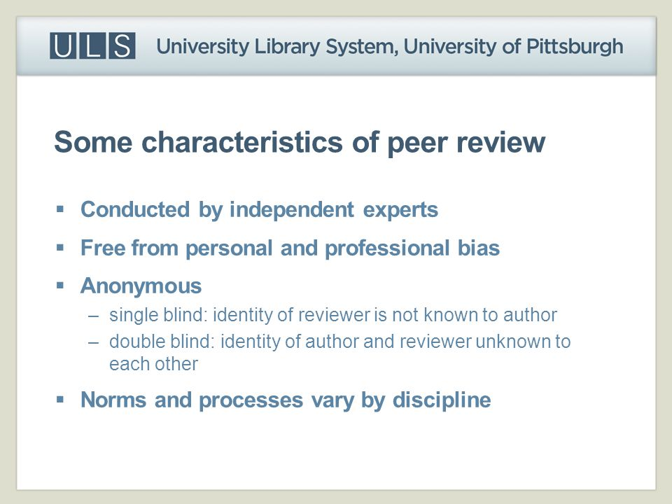 Some characteristics of peer review