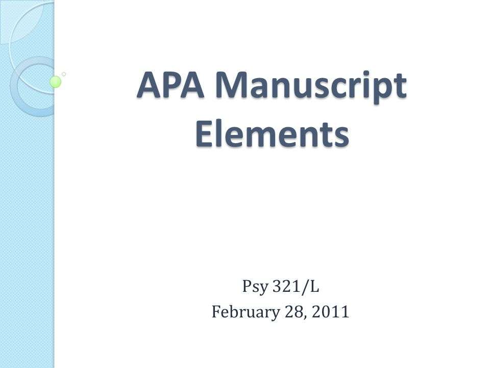 APA Manuscript Elements