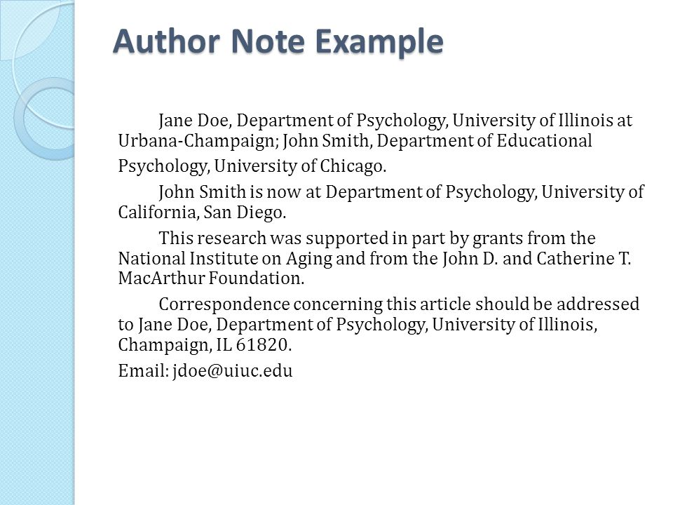 Author Note Example
