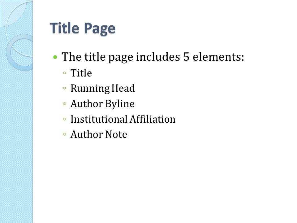 apa manuscript elements