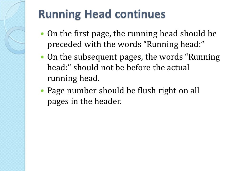 Running Head continues