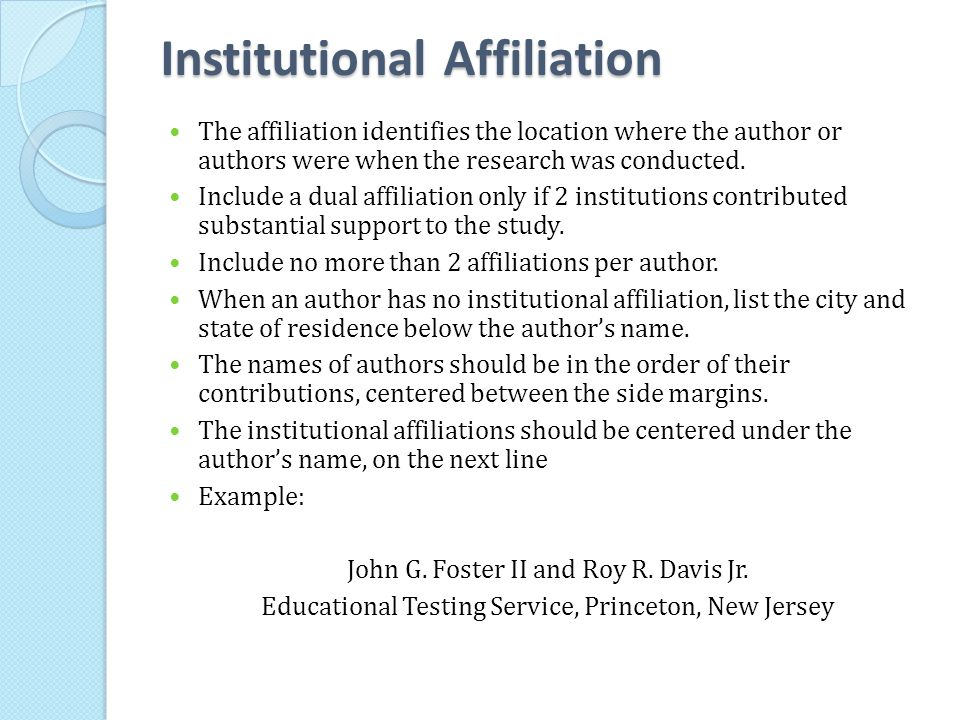 Institutional Affiliation
