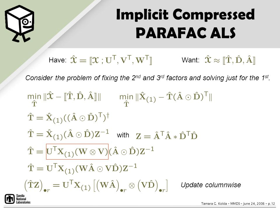 Implicit Compressed PARAFAC ALS