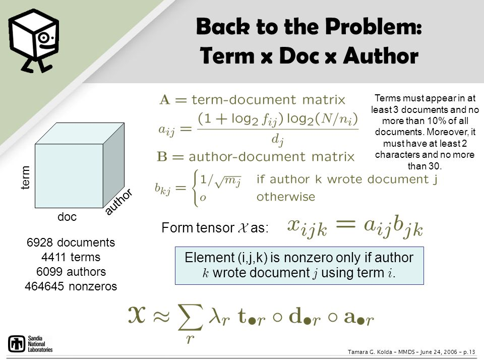 Back to the Problem: Term x Doc x Author