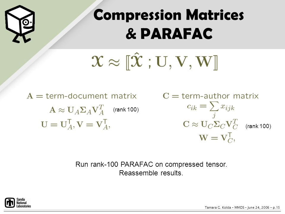 Compression Matrices & PARAFAC