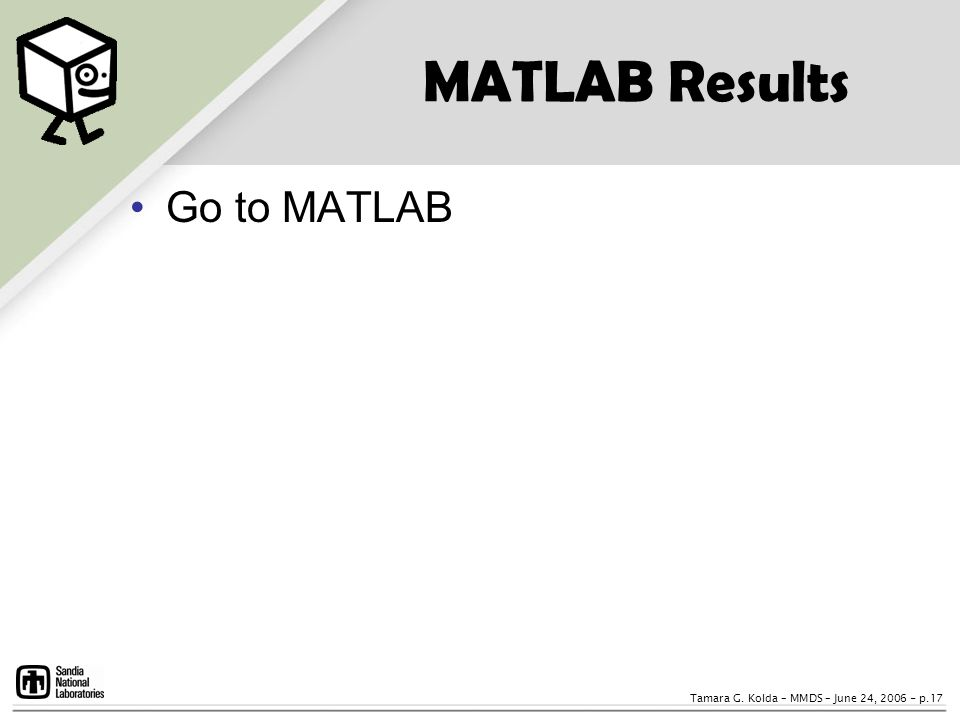 MATLAB Results Go to MATLAB