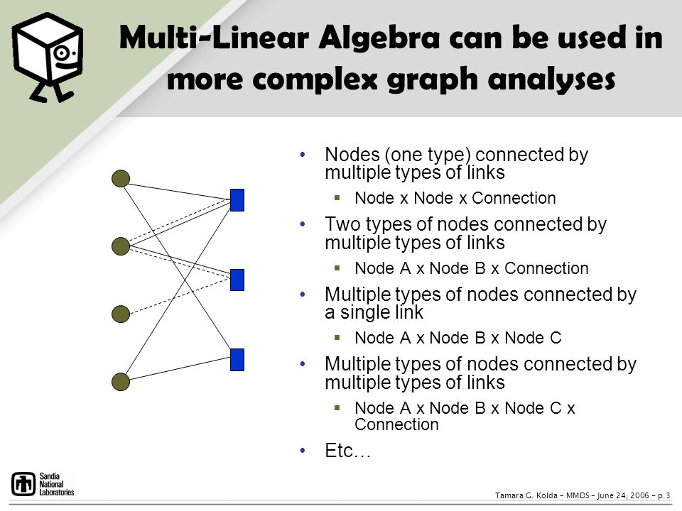 Multi-Linear Algebra can be used in more complex graph analyses