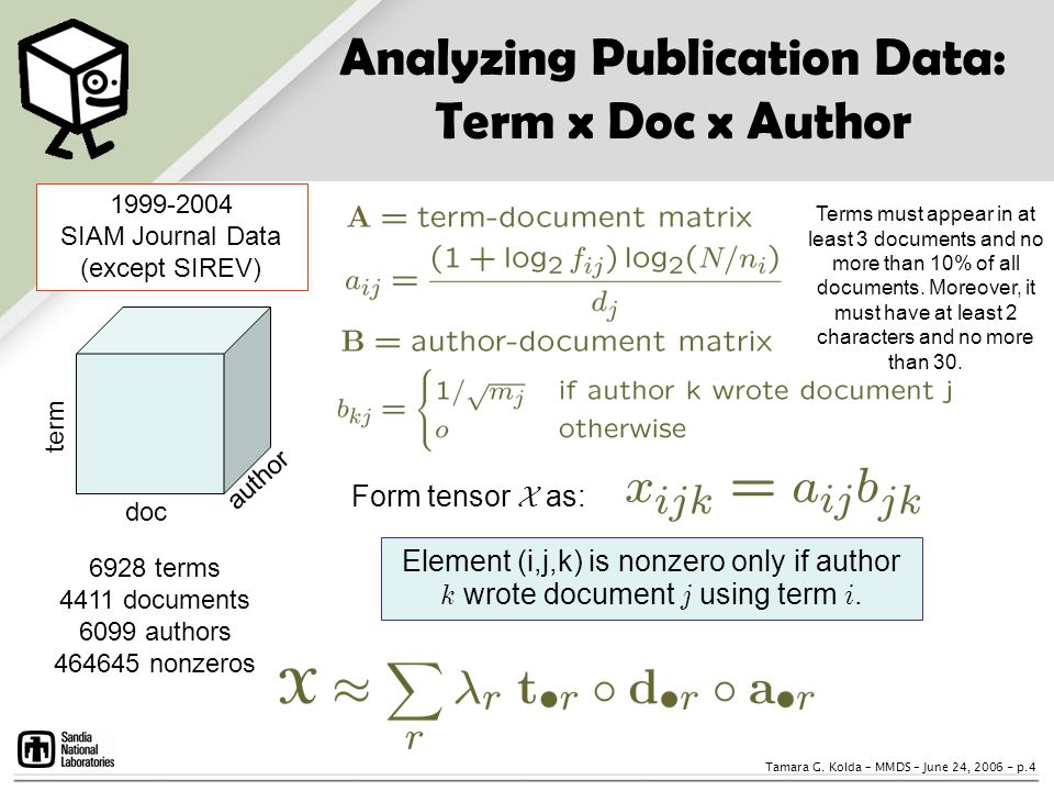 Analyzing Publication Data: Term x Doc x Author