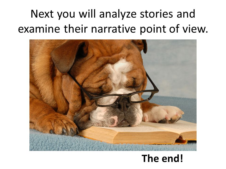 Next you will analyze stories and examine their narrative point of view.