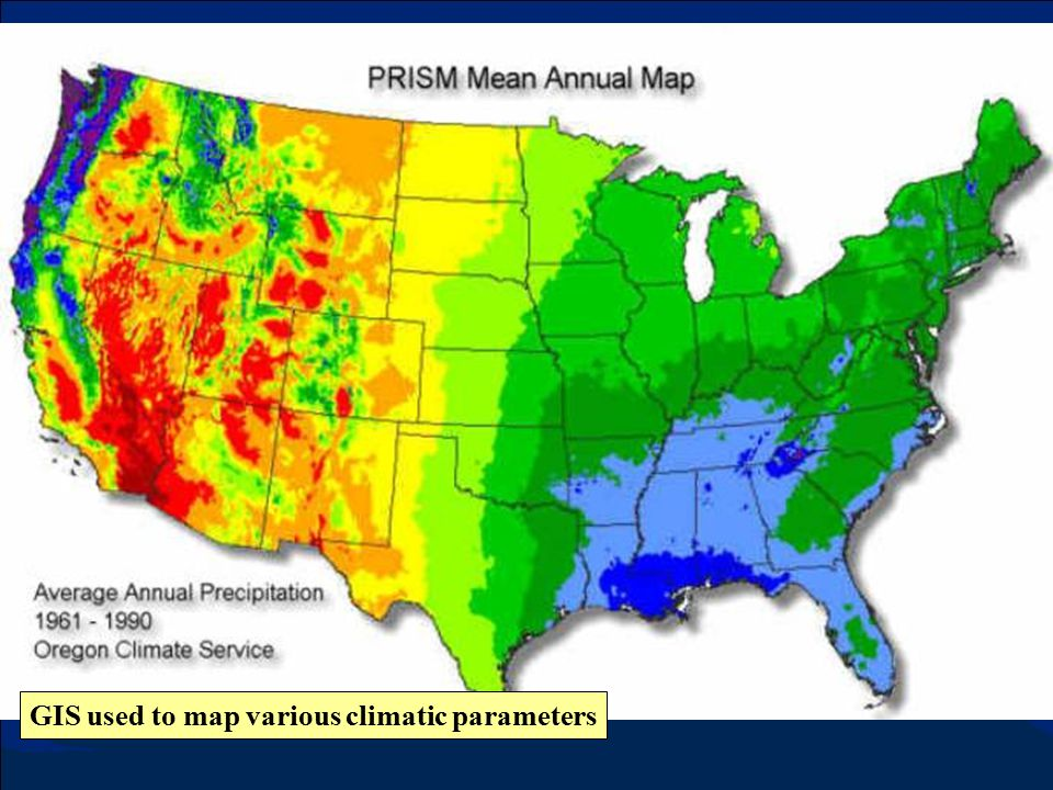 GIS used to map various climatic parameters