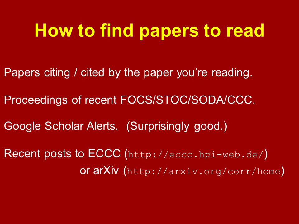 How to find papers to read