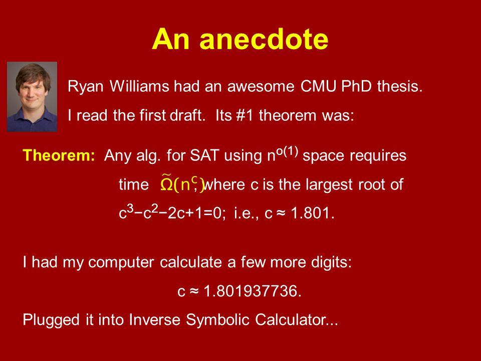 An anecdote Ryan Williams had an awesome CMU PhD thesis.