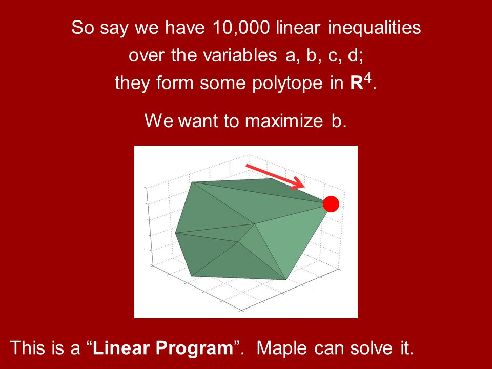So say we have 10,000 linear inequalities over the variables a, b, c, d; they form some polytope in R4.