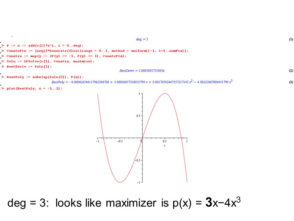 deg = 3: looks like maximizer is p(x) = 3x−4x3