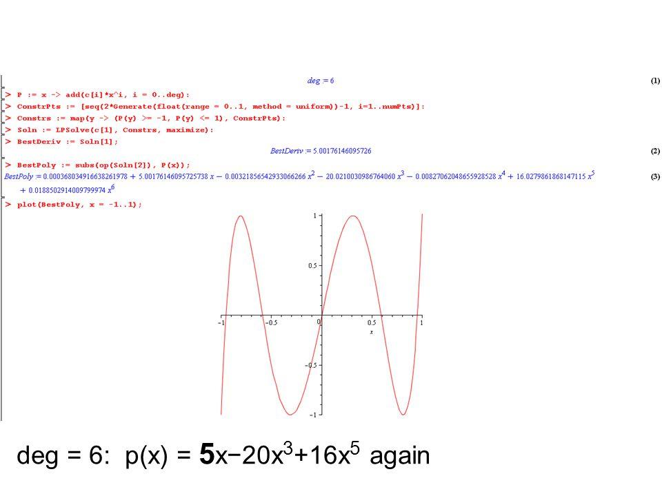 deg = 6: p(x) = 5x−20x3+16x5 again