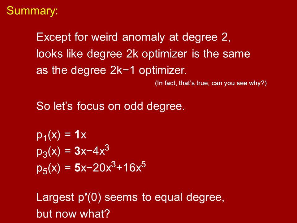 So let's focus on odd degree. p1(x) = 1x p3(x) = 3x−4x3