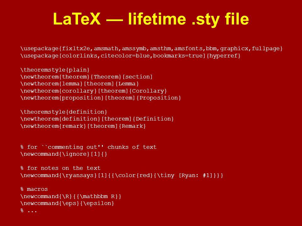 LaTeX — lifetime .sty file