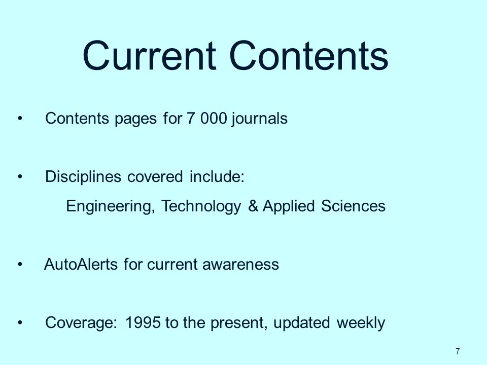 Current Contents Contents pages for 7 000 journals
