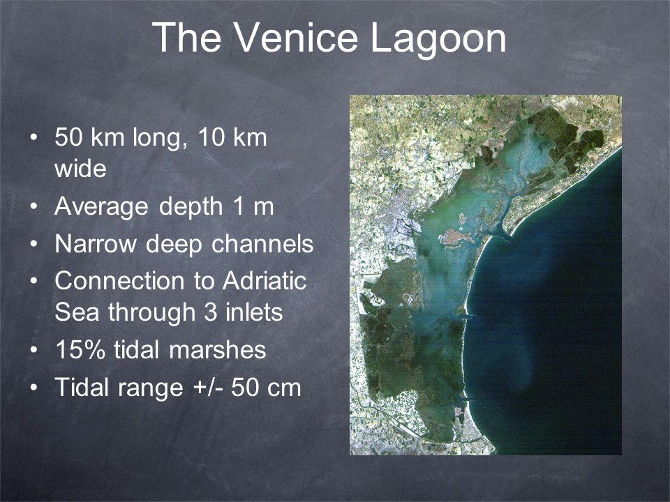 The Venice Lagoon 50 km long, 10 km wide Average depth 1 m