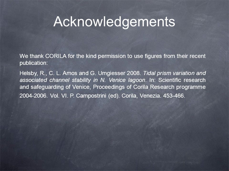 Acknowledgements We thank CORILA for the kind permission to use figures from their recent publication: