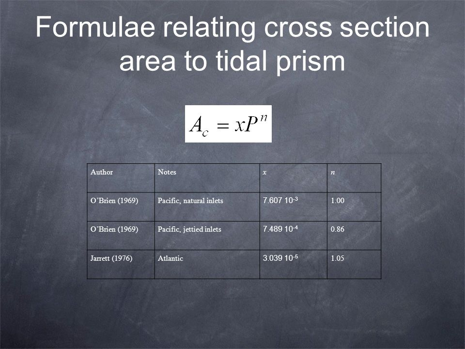 Formulae relating cross section area to tidal prism
