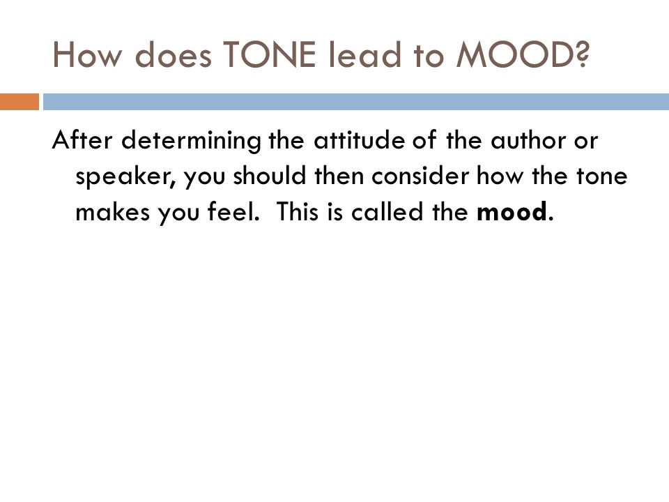 How does TONE lead to MOOD