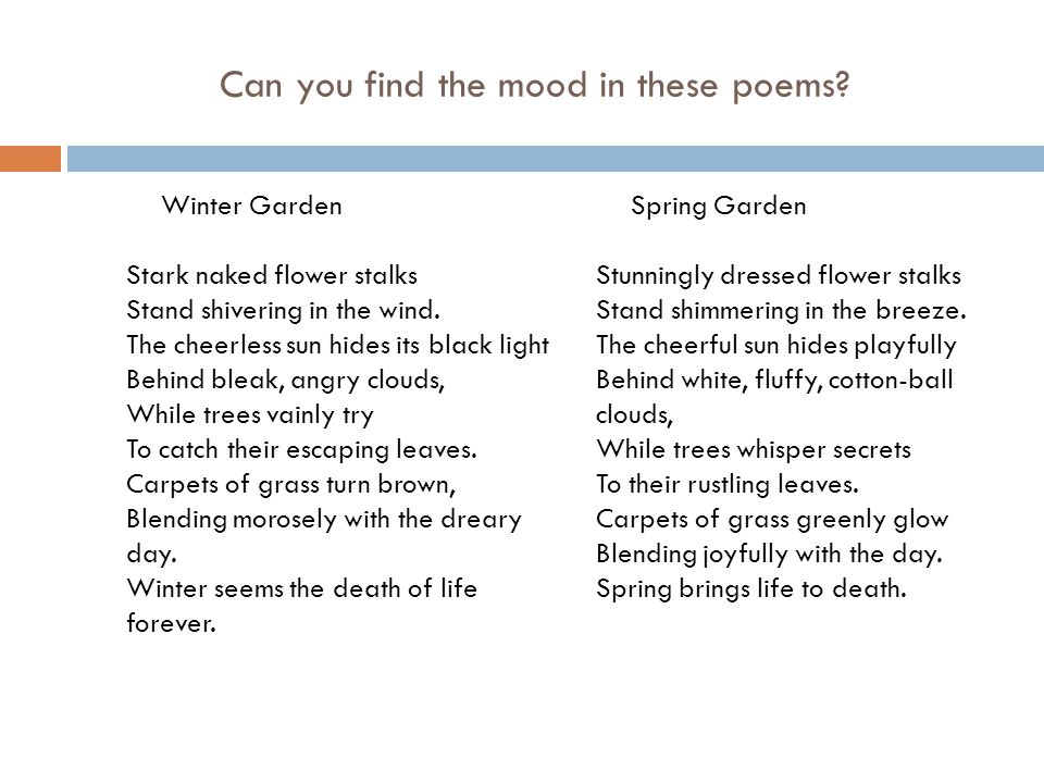 Can you find the mood in these poems