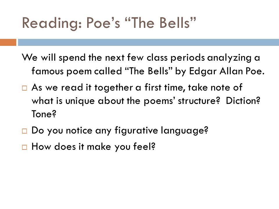 Reading: Poe's The Bells