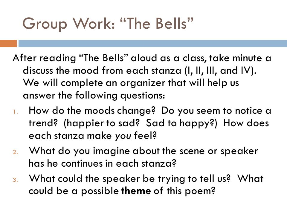 Group Work: The Bells
