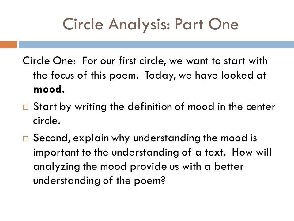 Circle Analysis: Part One