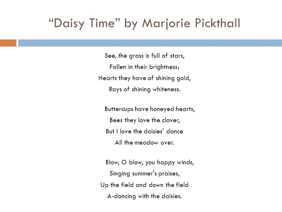 Daisy Time by Marjorie Pickthall