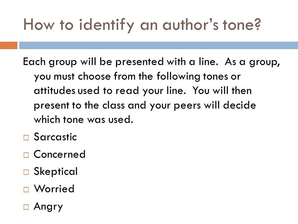 How to identify an author's tone