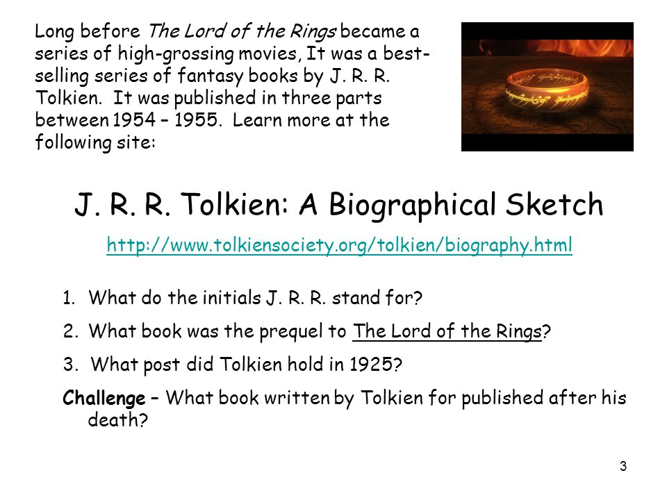 J. R. R. Tolkien: A Biographical Sketch