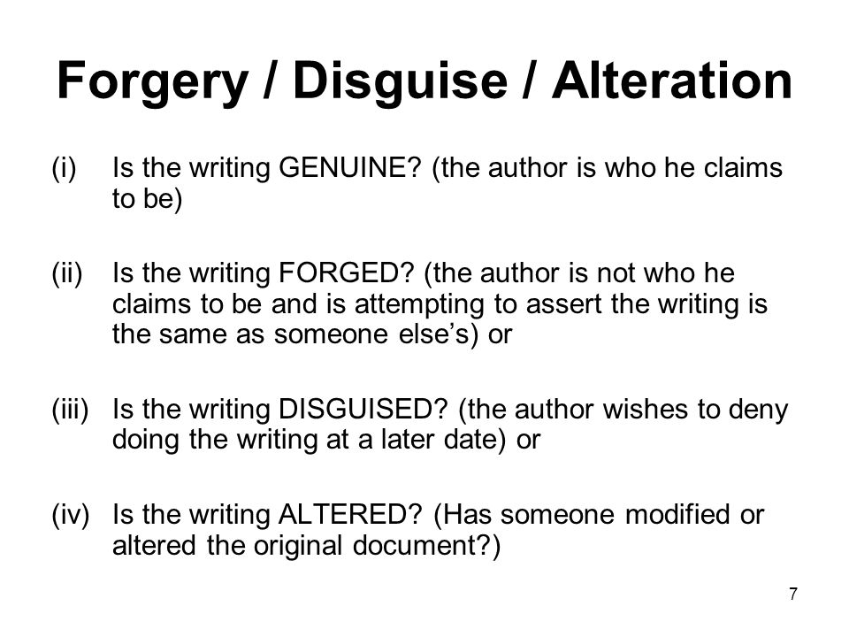 Forgery / Disguise / Alteration