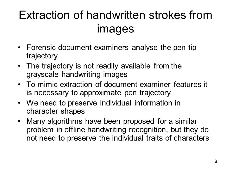 Extraction of handwritten strokes from images