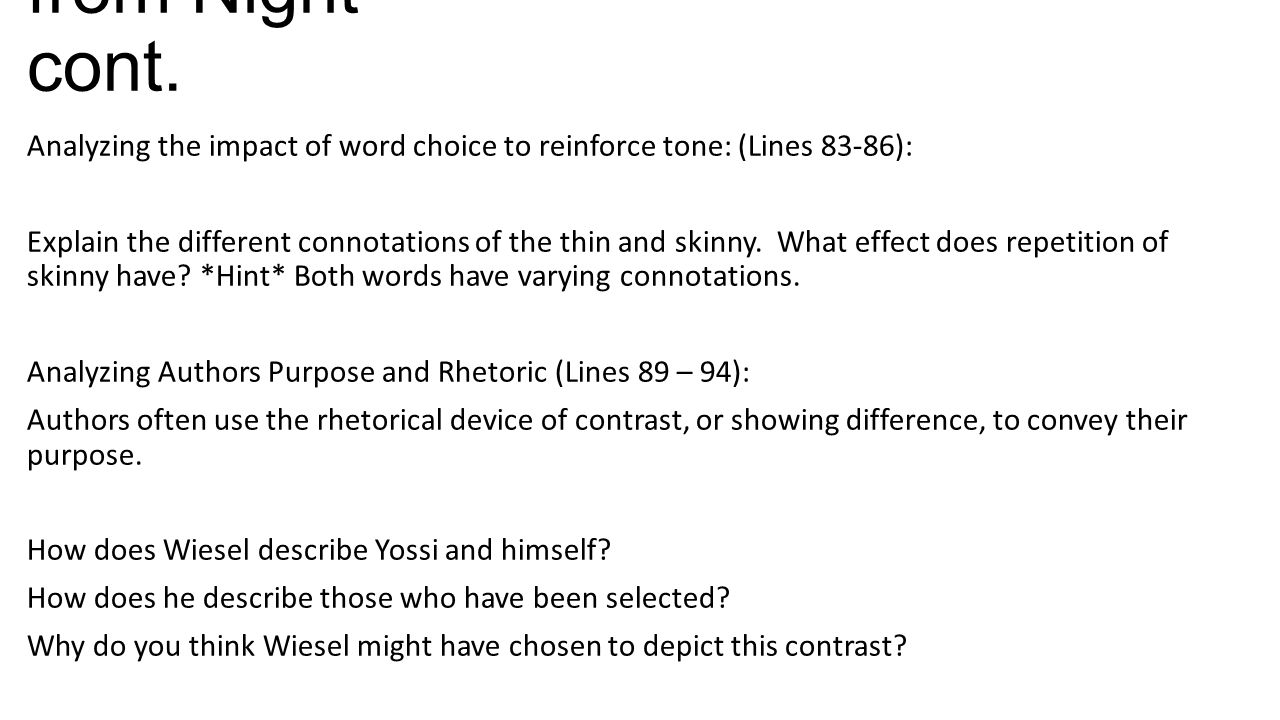 from Night cont. Analyzing the impact of word choice to reinforce tone: (Lines 83-86):
