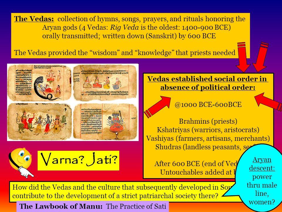 Vedas established social order in absence of political order: