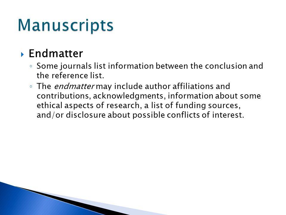 Manuscripts Endmatter