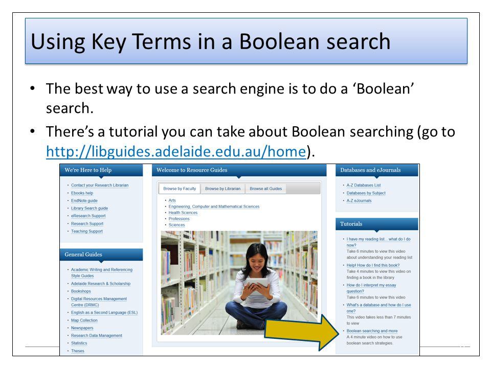 Using Key Terms in a Boolean search