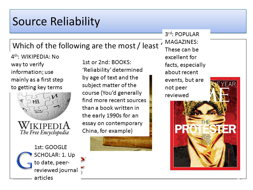 Source Reliability 3rd: POPULAR MAGAZINES: These can be excellent for facts, especially about recent events, but are not peer reviewed.