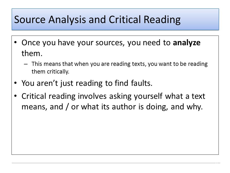 Source Analysis and Critical Reading